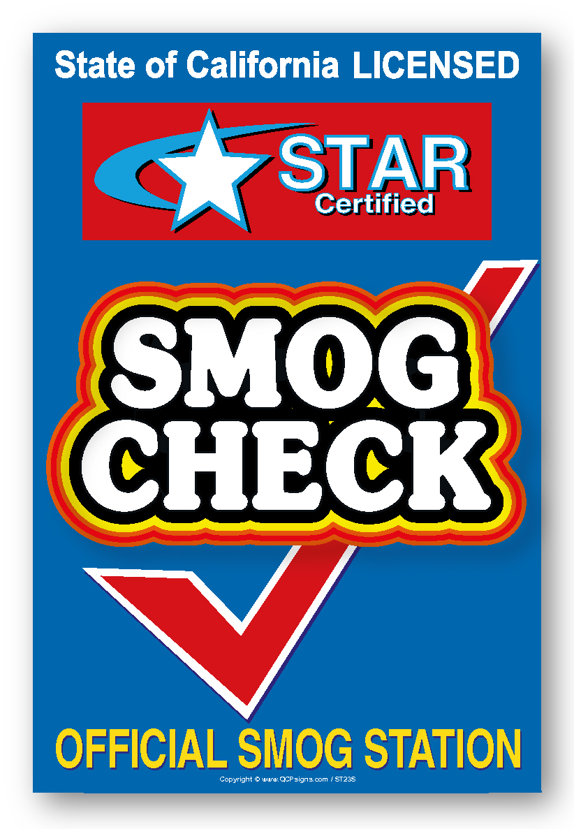 Smog Check Star Certified Label Qcpsigns